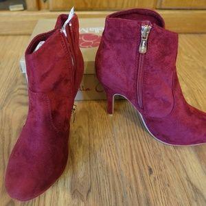 Bella Marie Burgundy Wine Dress Heel Bootie Vero